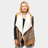 Plaid Faux Fur Lining and Pocket Vest