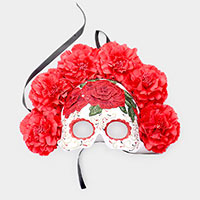 Red Floral Detail Halloween Venetian Masquerade Mask