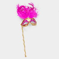Feather Masquerade Stick Glittered Eye Mask