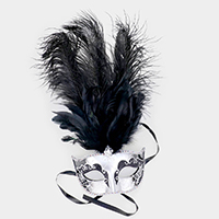 Long Feather Venetian Masquerade Eye Mask