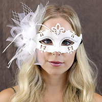 Princess Costume Floral Feather Masquerade Eye Mask