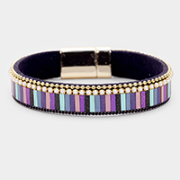 Multi Color Striped Faux Leather Pearl Magnetic Bracelet