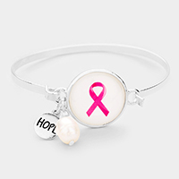 Pink Ribbon Hope Charm Hook Bracelet