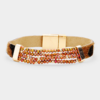 Faux Leather Bead Magnetic Bracelet