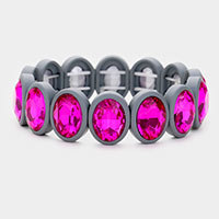 Oval Cut Glass Crystal Resin Bezel Stretch Bracelet