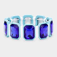 Emerald Cut Glass Crystal Resin Bezel Stretch Bracelet