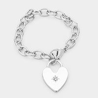 Heart Charm Metal Chain Bracelet