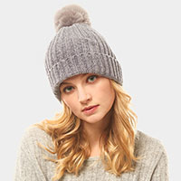 Solid Chenille Pom Pom Beanie Hat
