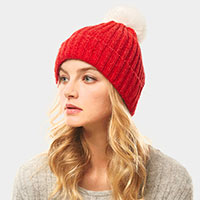 Solid Chenille PomPom Beanie
