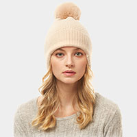 Solid Earflap Knit Pompom Beanie Hat
