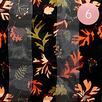 6PCS - Satin Striped Autumn Leaves Pattern Print Scarf