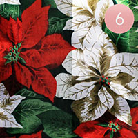 6PCS - Silk Feel Poinsettia Pattern Print Scarf
