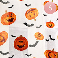 6PCS - Silk Feel Halloween Pumpkin Pattern Print Scarf