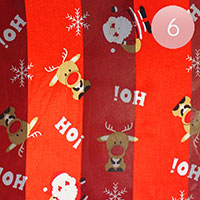 6PCS - Silk Feel Christmas Santa Claus Pattern Print Scarf