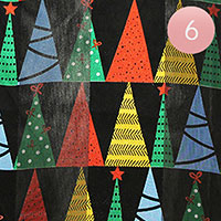 6PCS - Silk Feel Colorful Christmas Tree Pattern Print Scarf