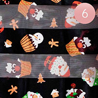 6PCS - Silk Feel Cute Christmas Pattern Print Scarf