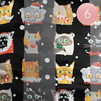 6PCS - Silk Feel Christmas Cute Animal Pattern Print Scarf