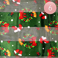 6PCS - Silk Feel Christmas Wreath Gloves Pattern Print Scarf