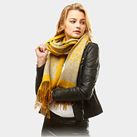 Leopard Pattern Cashmere Feel Oblong Scarf