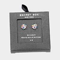 Secret Box _ 24K  White Gold Dipped Colorful CZ Stud Earrings