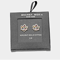 Secret Box _ 14K Gold Dipped Colorful CZ Maple Stud Earrings