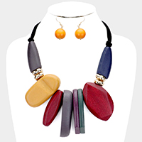 Chunky Abstract Colorful Wood Statement Necklace