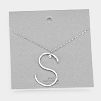 Brass S Monogram Metal Pendant Long Necklace