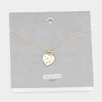 Brass Cubic Zirconia Heart Pendant Necklace