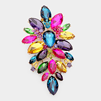 Oversized Glass Crystal Marquise Pin Brooch