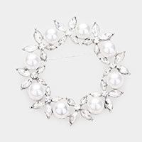 Pearl Crystal Floral Pin Brooch