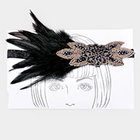 Bead Beaded Floral Feather Stretch Headband