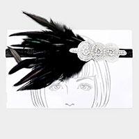 Crystal Beaded Feather Stretch Headband