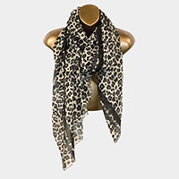 Leopard Pattern Brushed Stripe Accent Scarf