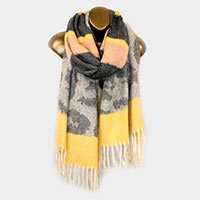 Cashmere Feel Leopard Pattern Stripe Shawl Scarf