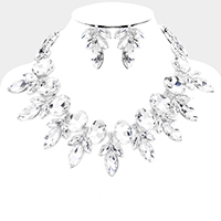 Glass Crystal Vine Collar Evening Necklace