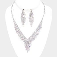 Crystal Rhinestone Pave Accented V Shaped Necklace