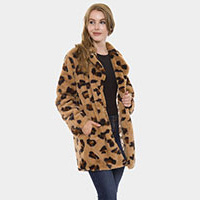Leopard Patterned Notched Lapel Sweater Jacket