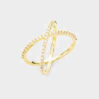 Gold Dipped CZ Cubic Zirconia Cross Ring