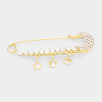Rhinestone Safety Pin Star Pin Brooch