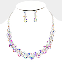 Teardrop Glass Crystal Collar Evening Necklace