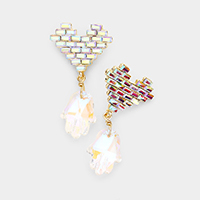 Crystal Heart Hands Dangle  Earrings