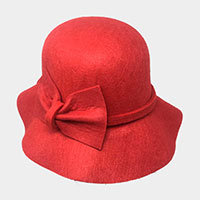 Solid Color Bow Accent Cloche Hat