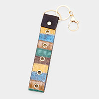 Color Block Faux Leather Key Chain