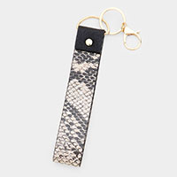 Snake Pattern Faux Leather Key Chain