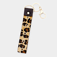 Leopard Pattern Faux Leather Key Chain