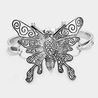 Butterfly Detailed Magnetic Metal Bracelet