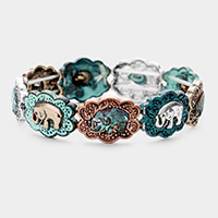 Cute Elephant Burnished Metal Stretch Bracelet