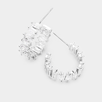 Baguette Cut CZ Statement Earrings