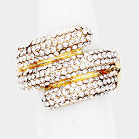 Rhinestone Pave 3 Row Stretch Ring