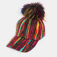 Multi Color Knitted Pom Pom Baseball Hat